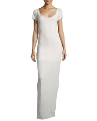 Talia Scoop Neck Short Sleeve Maxi Dress Heather Oatmeal