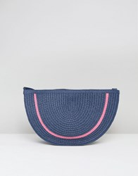 South Beach Straw Clutch Bag Navy Pink Multi