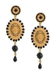 Dolce And Gabbana Drop Medallion Earrings Gold