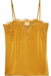 Cami Nyc Woman The Sweetheart Chantilly Lace Trimmed Silk Charmeuse Camisole Mustard