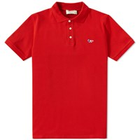 Maison Kitsune Tricolour Fox Polo Red