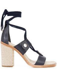 Rag And Bone Lace Up Sandals Women Leather Rubber 8 Blue