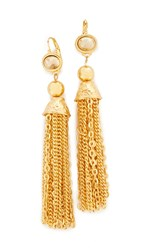 Kenneth Jay Lane Chain Tassel Earrings Gold