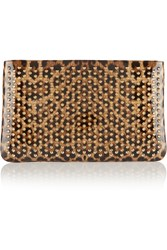 Christian Louboutin Loubiposh Spiked Leopard Print Patent Leather Clutch