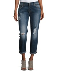 7 For All Mankind Skinny Distressed Boyfriend Jeans Dark Blue