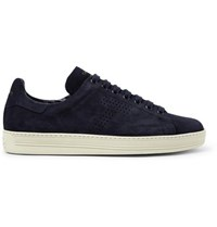 Tom Ford Warwick Perforated Suede Sneakers Midnight Blue