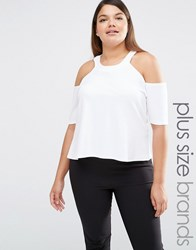 Pink Clove Cold Shoulder Jersey Top White