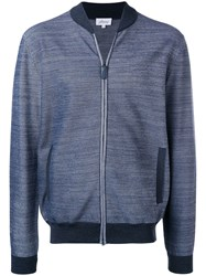 Brioni Elbow Patches Bomber Jacket Blue