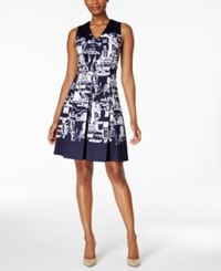 Charter Club Striped Fit And Flare Dress Only At Macy's Intrepid Blue