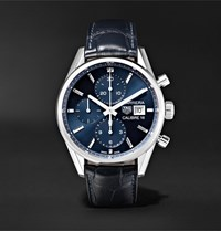 Tag Heuer Carrera Automatic Chronograph 41Mm Steel And Alligator Watch Ref. No. Cbk2112.Fc6292 Blue