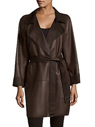 Akris Throne Belted Leather Coat Brown