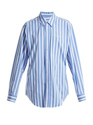 Martine Rose Striped Cotton Shirt Blue Stripe