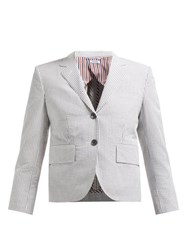 Thom Browne Striped Single Breasted Cotton Blazer White Multi