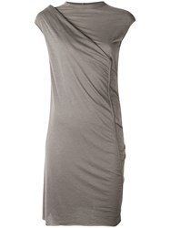 Rick Owens Lilies Draped Fitted Dress Women Cotton Polyamide Viscose 38 Brown