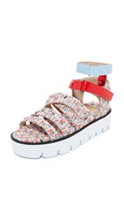 Msgm Multi Strap Sandals Multicolor Red Light Blue