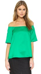 Edit Off Shoulder Top Green