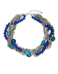 Catherine Stein Bead And Chain Collar Necklace Teal