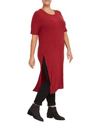 Junarose Nella Slit Roundneck Tunic Biking Red