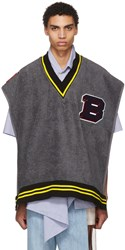 Bless Grey Varsity Towel V Neck Pullover