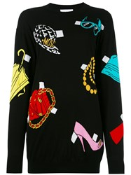 Moschino Paper Cut Out Accessories Sweater Dress Black