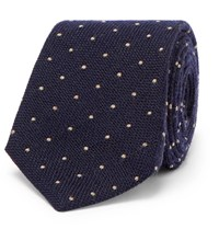 Brunello Cucinelli 7Cm Polka Dot Wool And Silk Blend Tie Midnight Blue