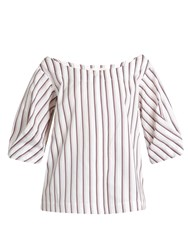 Isa Arfen Bunting Stripe Button Down Cotton Top White Multi