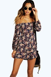 Boohoo Paisley Print Off The Shoulder Playsuit Navy