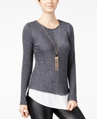 Amy Byer Bcx Juniors' Striped Split Back Layered Look Top With Necklace Grey