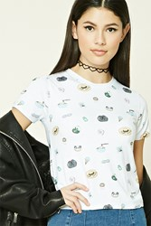 Forever 21 Foodie Graphic Tee White Light Blue