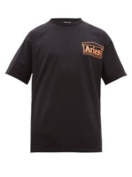 Aries Temple Logo Print Cotton T Shirt Black