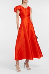 Merchant Archive Silk Gazar Skirt Orange