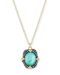 Armenta Old World Midnight Oval Crivelli Necklace With Diamonds Emerald