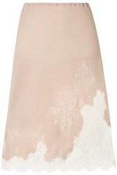 Carine Gilson Chantilly Lace Trimmed Silk Georgette Half Slip Neutral
