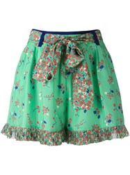 Manoush Floral Print Shorts Green