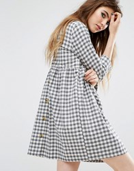 Reclaimed Vintage Button Back Smock Dress In Brushed Check Grey