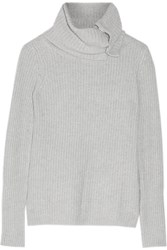 Autumn Cashmere Ribbed Knit Turtleneck Sweater Gray