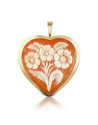 Del Gatto Floral Heart Cornelian Cameo Pendant Pin Brown