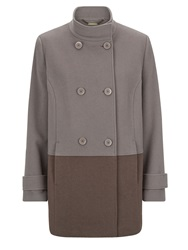 Eastex Taupe Colourblock Coat Multi Coloured