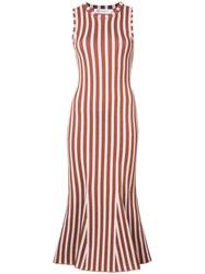 Victoria Beckham Striped Fitted Dress Brown