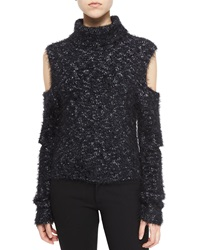 Jonathan Simkhai Metallic Cutout Turtleneck Sweater Black
