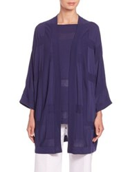 Piazza Sempione Three Quarter Sleeve Cotton Cardigan Blue