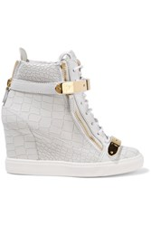 Giuseppe Zanotti Croc Effect Leather Wedge Sneakers Light Gray
