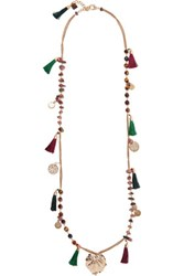 Rosantica Gold Tone Stone And Tassel Necklace One Size