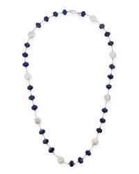 Lapis And Coin Pearl Long Necklace 35'L Margo Morrison White
