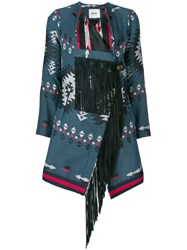 Bazar Deluxe Fringed Aztec Jacket Blue