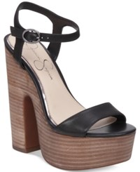 Jessica Simpson Whirl Chunky Platform Sandals Women's Shoes Black Leather