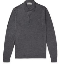 John Smedley Belper Slim Fit Merino Wool Polo Shirt Charcoal