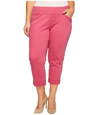 Jag Jeans Plus Size Marion Crop In Bay Twill Pink Geranium Women's Casual Pants Red