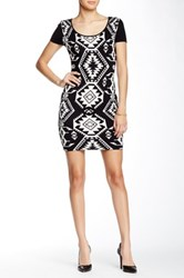 Papillon Scoop Neck Bodycon Sweater Dres Multi