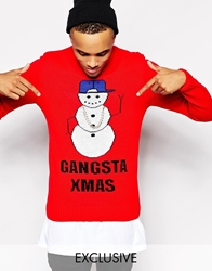 Reclaimed Vintage Christmas Jumper With Gangsta Snowman Red
